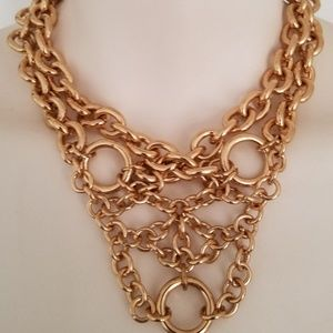 ZARA Gold Chain Link Cluster Multi Strand Necklace